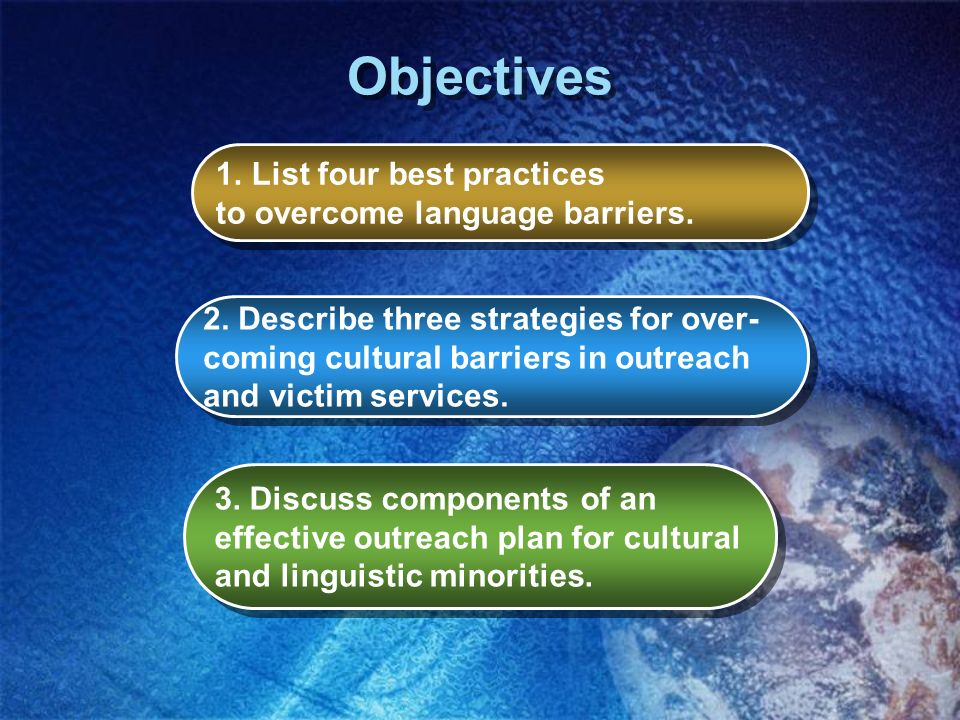 Objectives List four best practices to overcome language barriers.