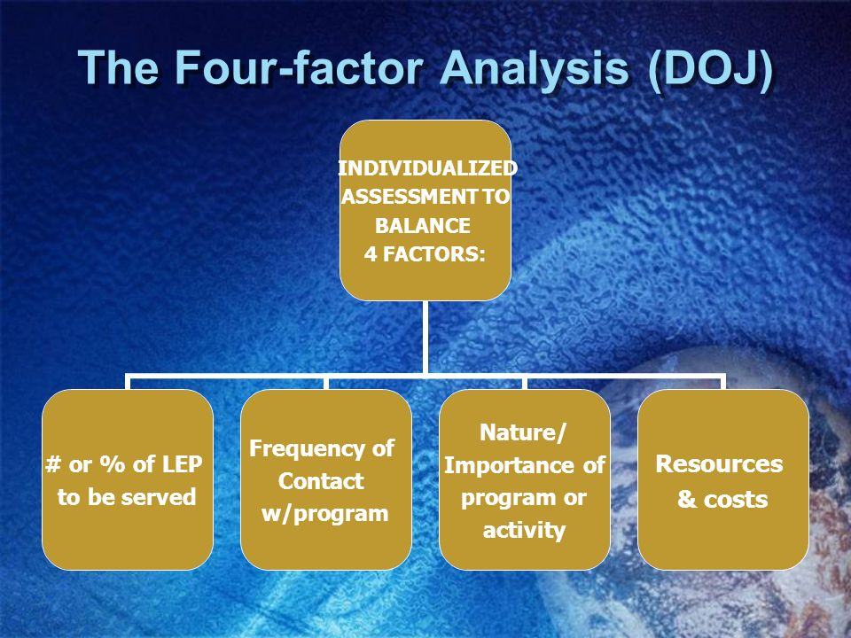 The Four-factor Analysis (DOJ)