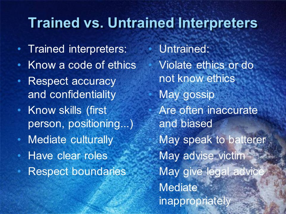 Trained vs. Untrained Interpreters