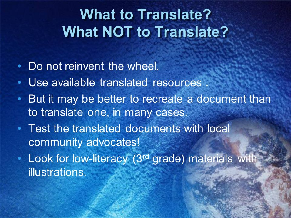 What to Translate What NOT to Translate