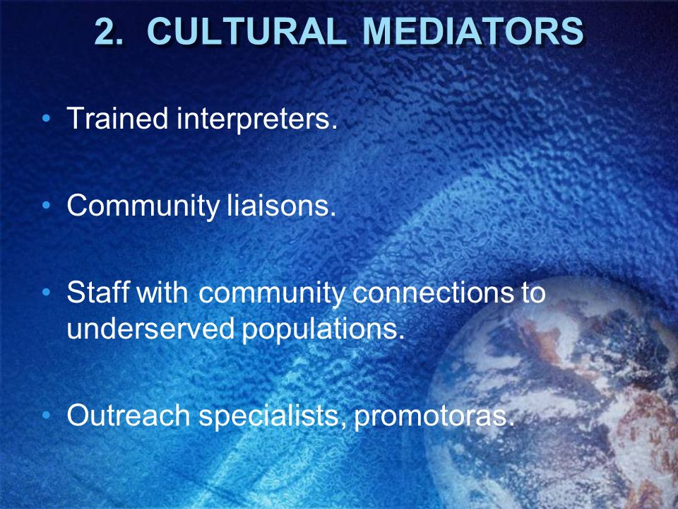 2. CULTURAL MEDIATORS Trained interpreters. Community liaisons.