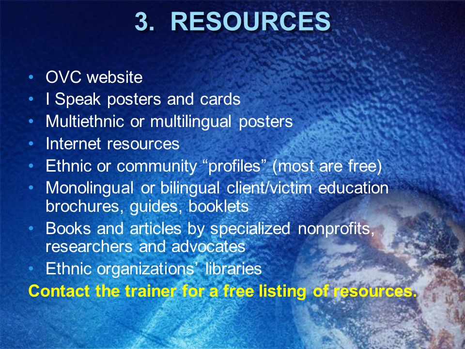 3. RESOURCES OVC website I Speak posters and cards