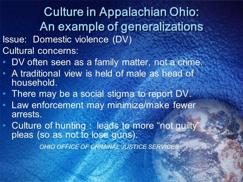 Culture in Appalachian Ohio: An example of generalizations