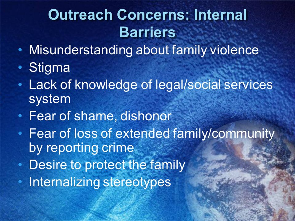 Outreach Concerns: Internal Barriers