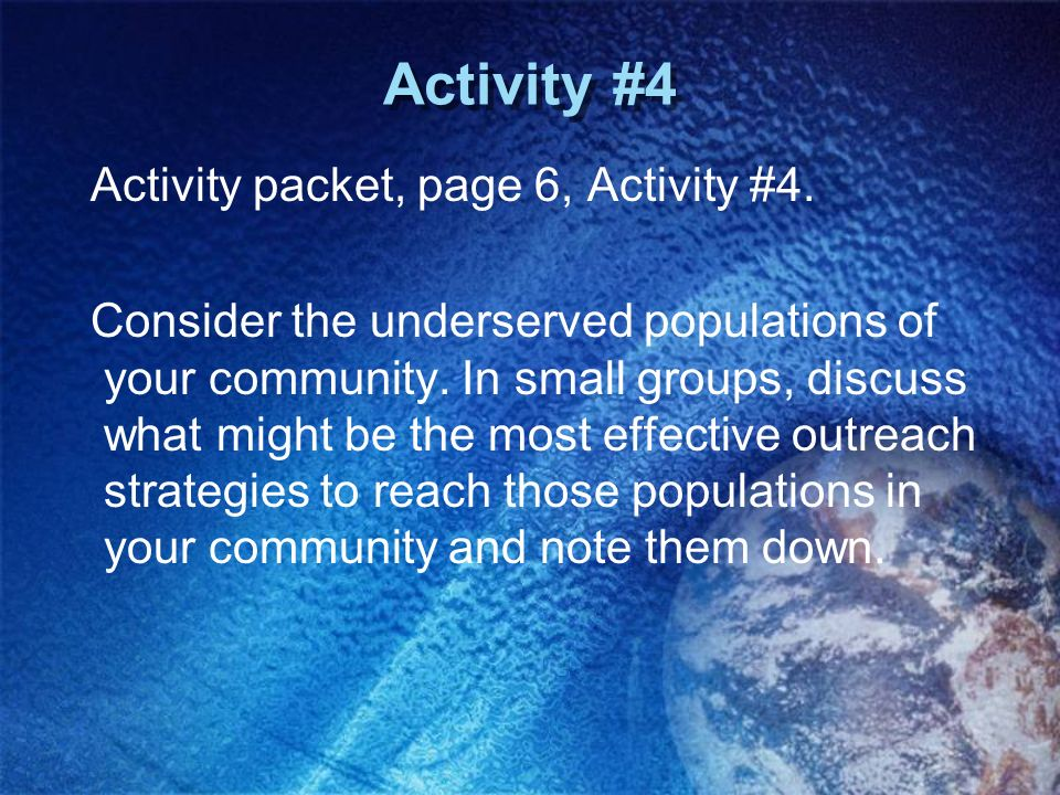 Activity #4 Activity packet, page 6, Activity #4.