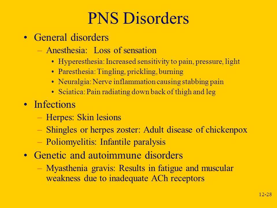 PNS Disorders General disorders Infections