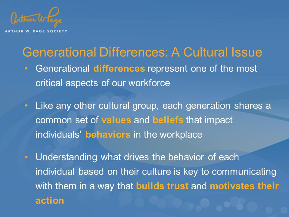 generational differences in work values Despite the importance of generational differences with respect to work values,  there is a paucity of research on this topic, particularly in the south african.
