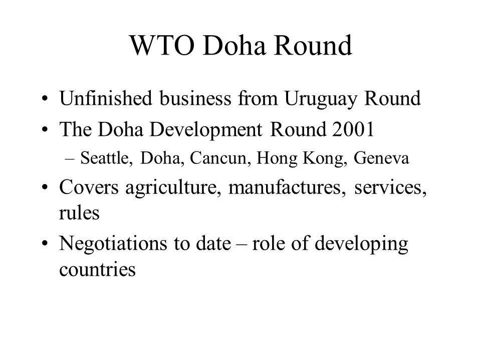 uruguay doha round The uruguay round - in 6 minutes saveferris35 loading what is the wto's doha development round - duration: 3:17 bigpictv 9,759 views 3:17.