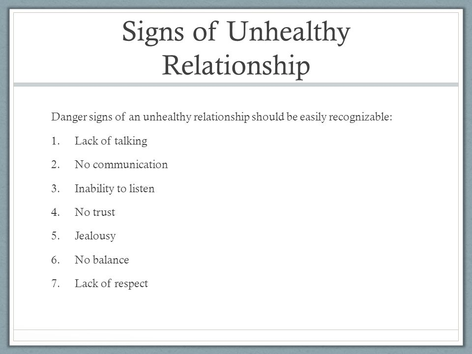 Signs of Unhealthy Relationship