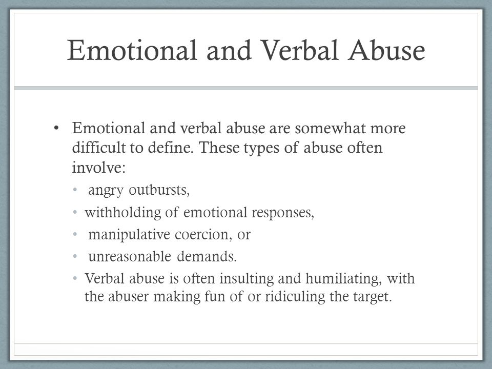 Emotional and Verbal Abuse