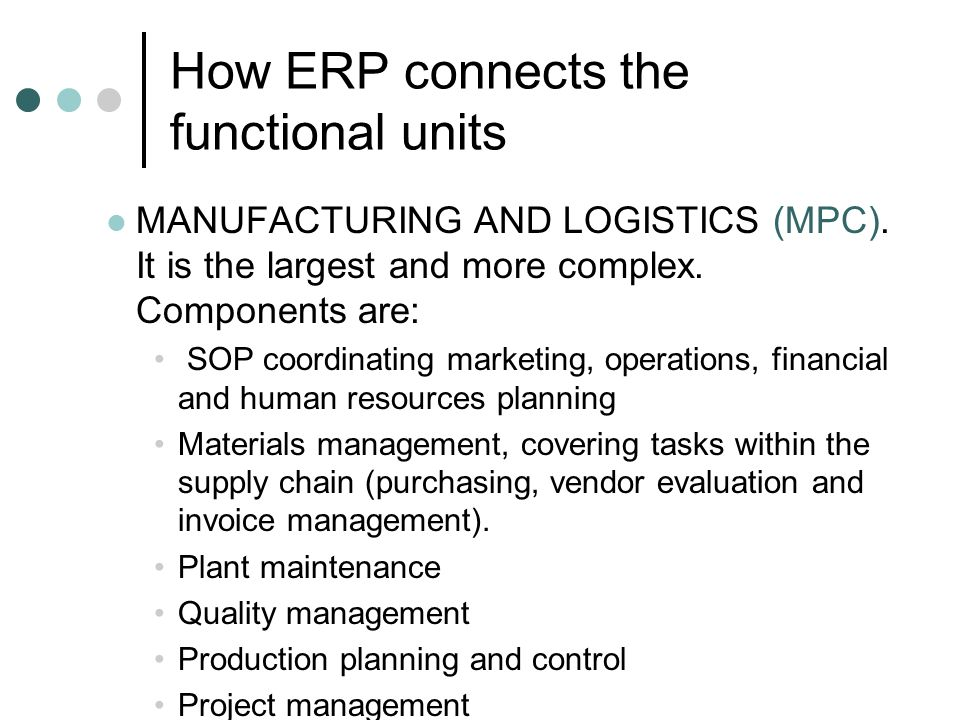 How ERP connects the functional units
