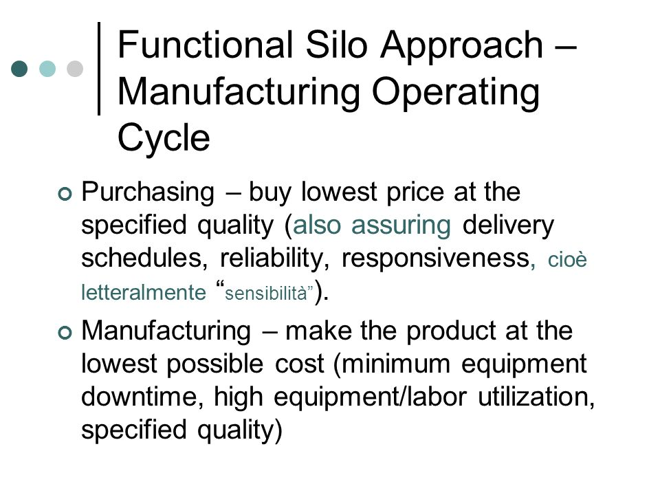 Functional Silo Approach – Manufacturing Operating Cycle