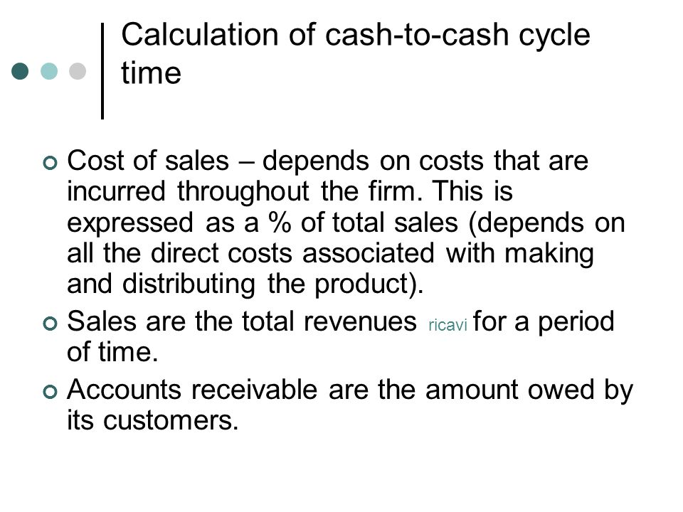 Calculation of cash-to-cash cycle time