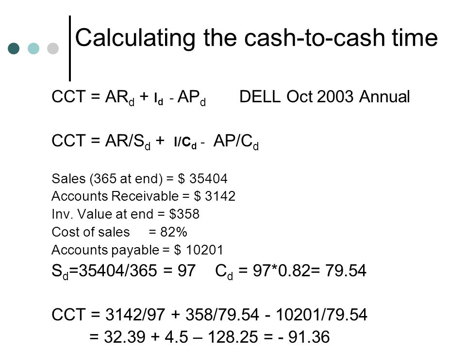 Calculating the cash-to-cash time