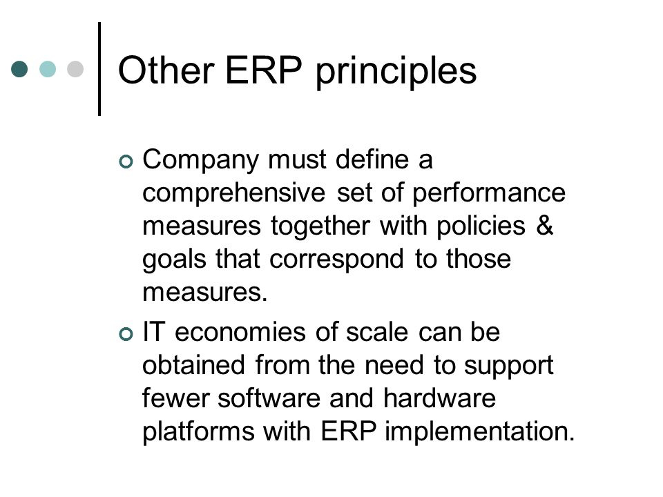 Other ERP principles