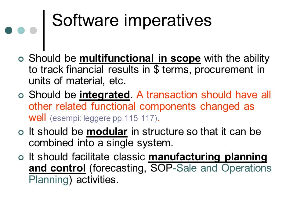 Software imperatives