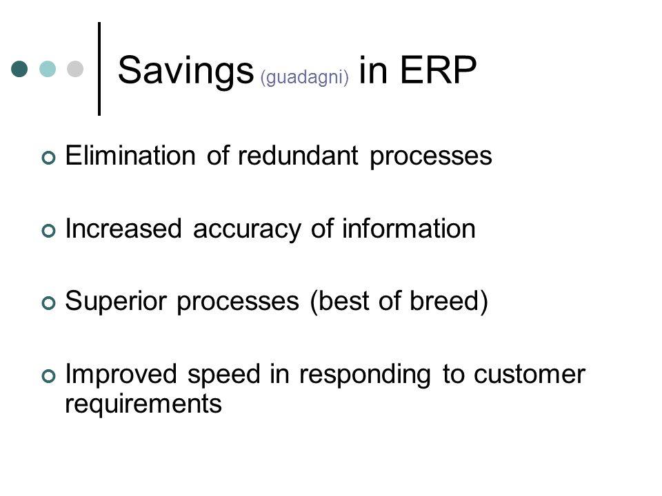 Savings (guadagni) in ERP