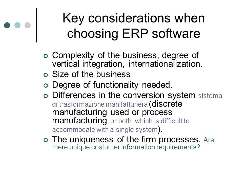 Key considerations when choosing ERP software