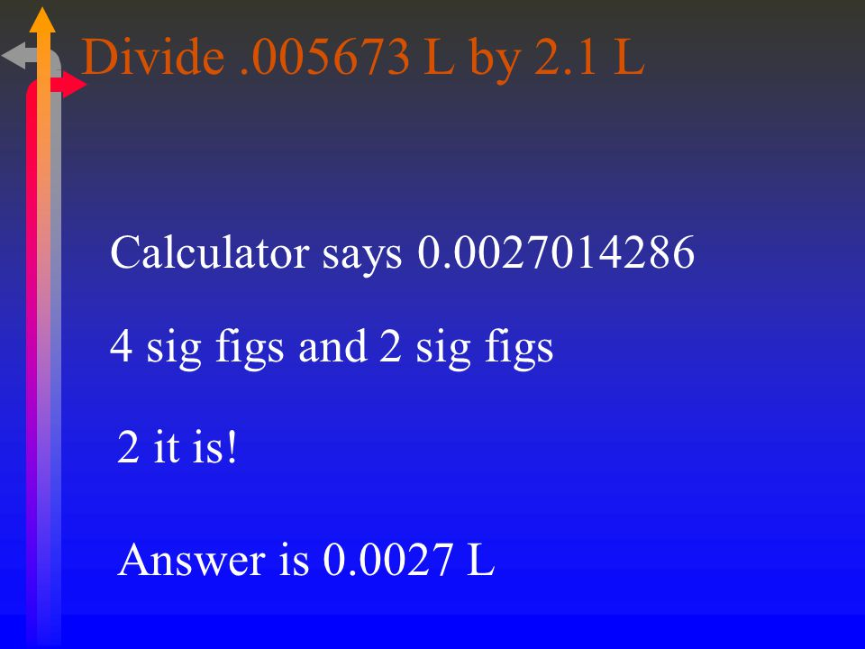 Divide L by 2.1 L Calculator says