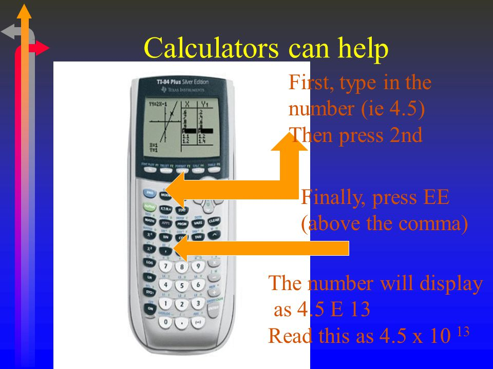 Calculators can help First, type in the number (ie 4.5) Then press 2nd