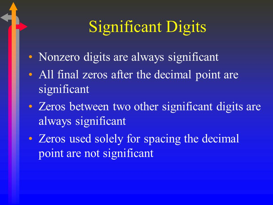 Significant Digits Nonzero digits are always significant
