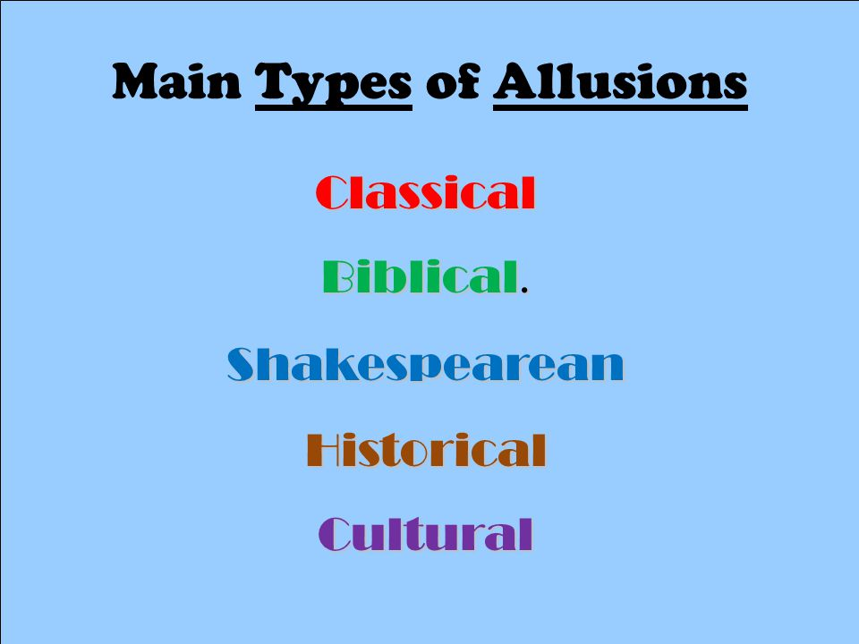 Main Types of Allusions