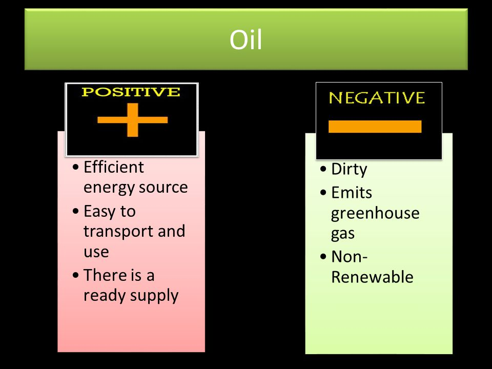 Oil Efficient energy source Easy to transport and use