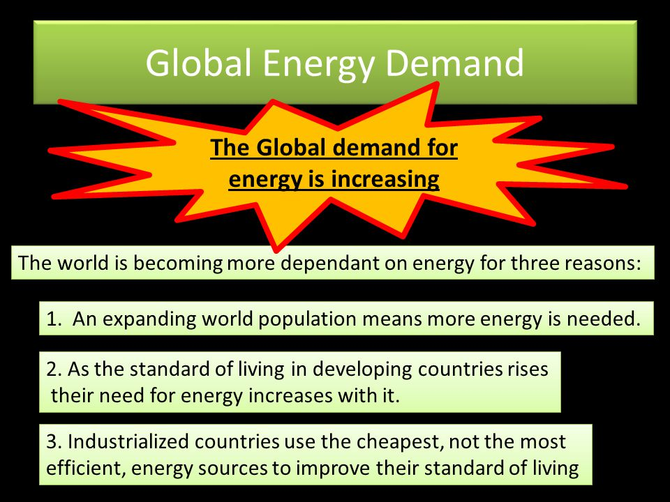 The Global demand for energy is increasing