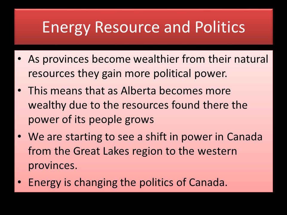 Energy Resource and Politics