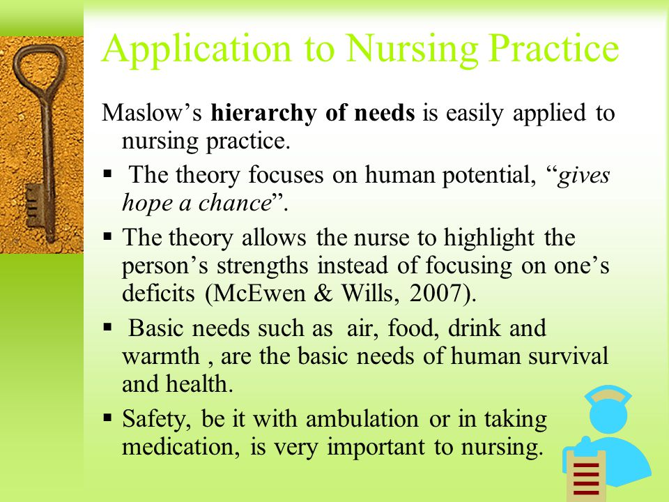 nursing theory and its application In katharine kolcaba's comfort theory of nursing, the focus is on patient comfort comfort theory and its application to pediatric nursing.
