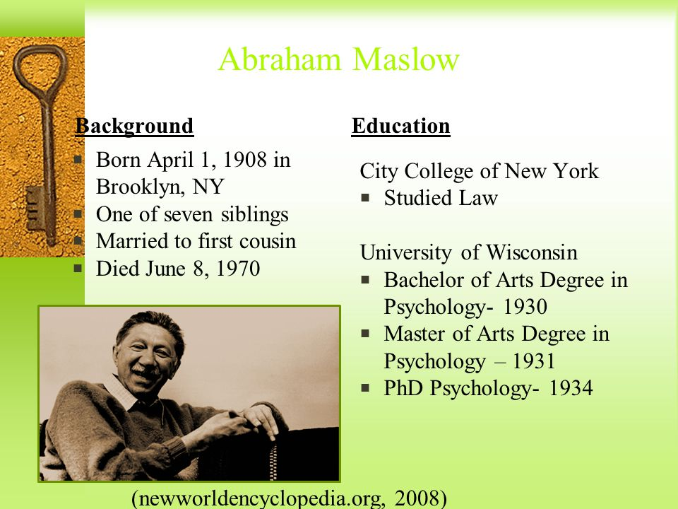 biography of abraham maslow A central figure in humanistic psychology and in the human potential movement,  abraham maslow is known especially for his theory of motivation he was born.