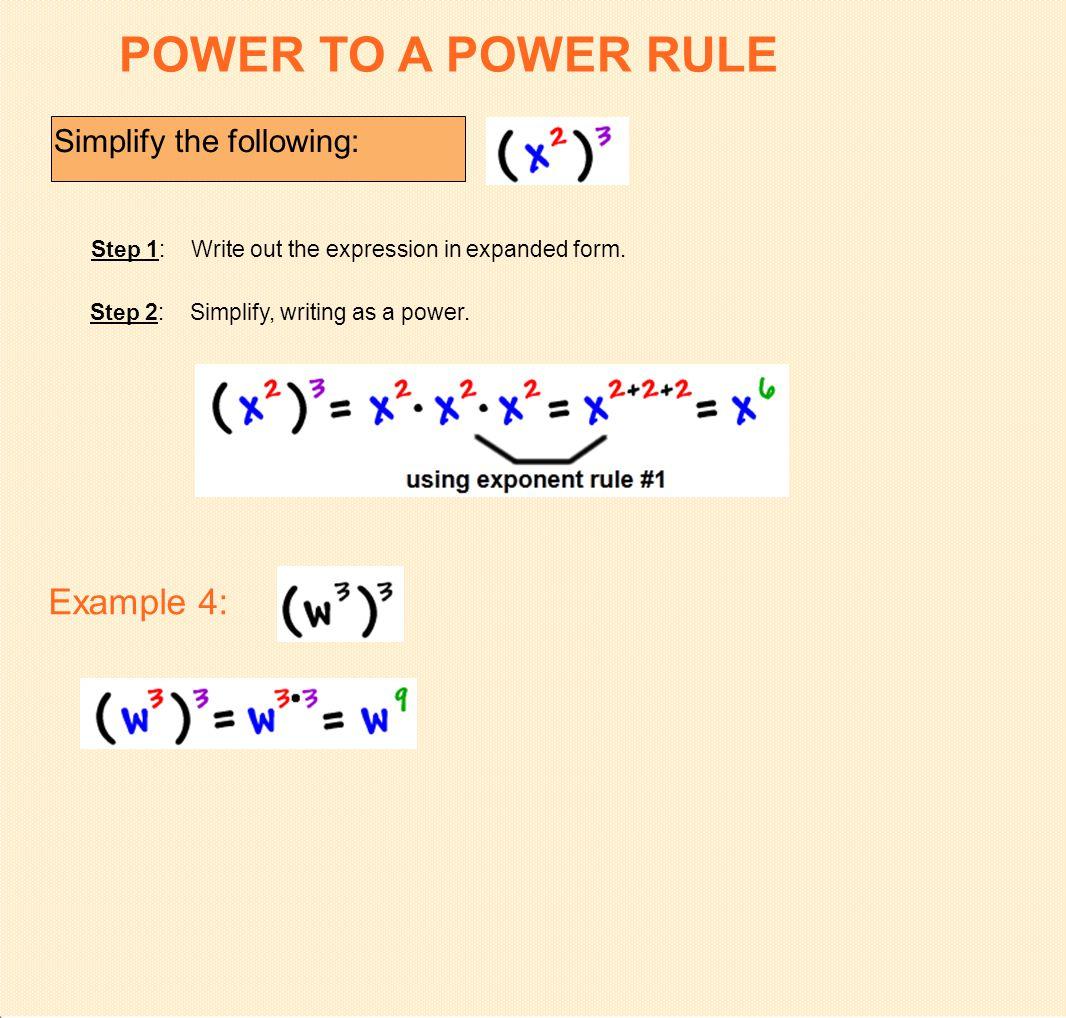 Multiplying monomials and raising monomials to powers ppt download power to a power rule example 4 simplify the following falaconquin