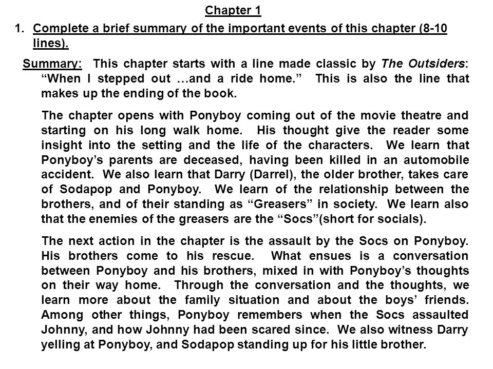 the outsiders s e hinton ppt  chapter 1 complete a brief summary of the important events of this chapter 8
