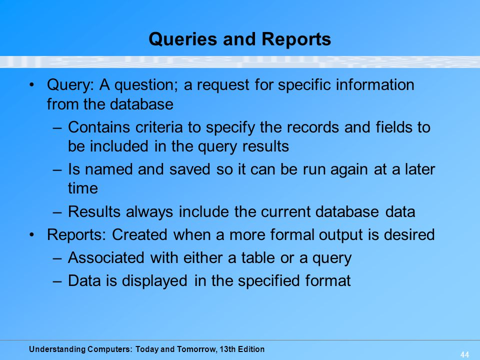 database queries and reports Microsoft office access 2007 forms, reports, and queries  reports, and queries - avoids database theory in favor of practical know-how that you can put to use.