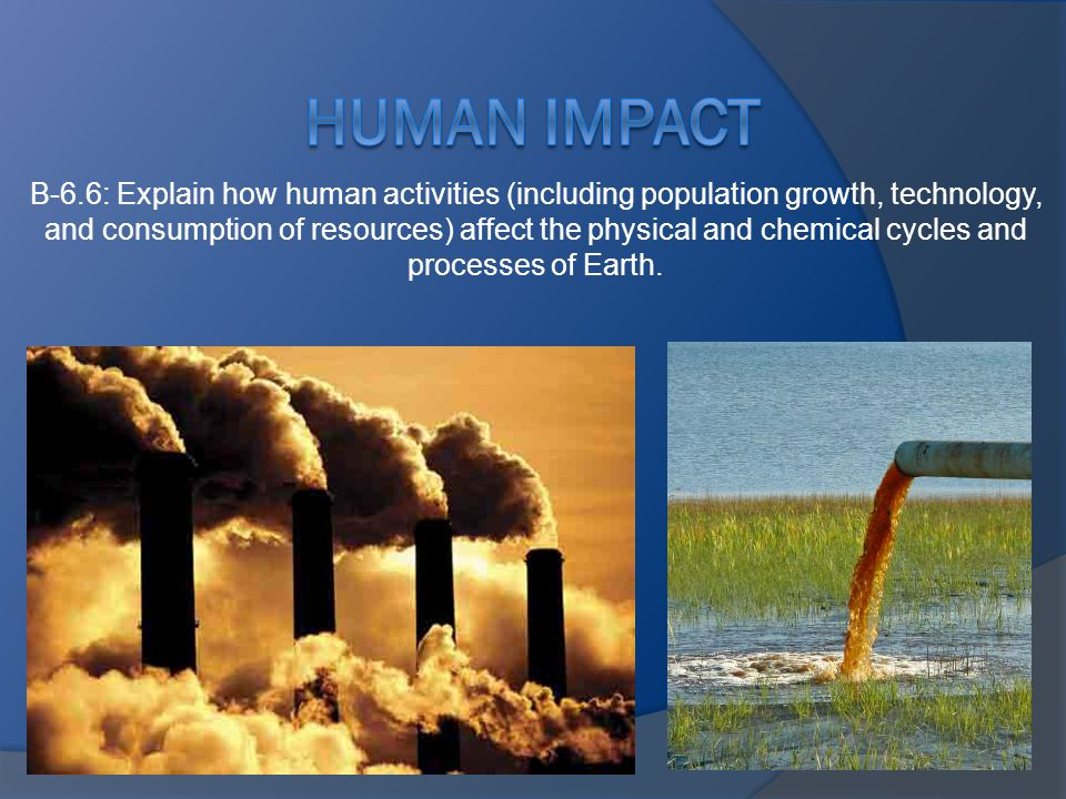 B-6.6: Explain how human activities (including population growth, technology, and consumption of resources) affect the physical and chemical cycles and processes of Earth.