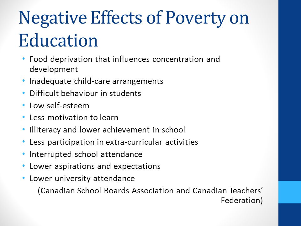 effects poverty teaching and learning Open document below is an essay on poverty effects children learning from anti essays, your source for research papers, essays, and term paper examples.