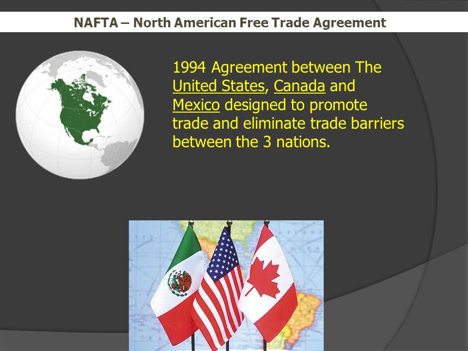the trilateral free trade agreement between united states mexico and canada Mexico, the united states and canada have been trying to forge a revamped version of the 1994 trade pact since a year ago at the behest of trump, who says he wants a better deal for usa business and workers in recent days, the trump administration has signalled an agreement could be reached on the pact by the end of august.