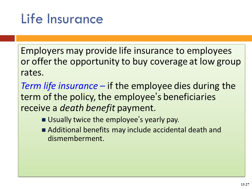 Chapter 13 providing employee benefits