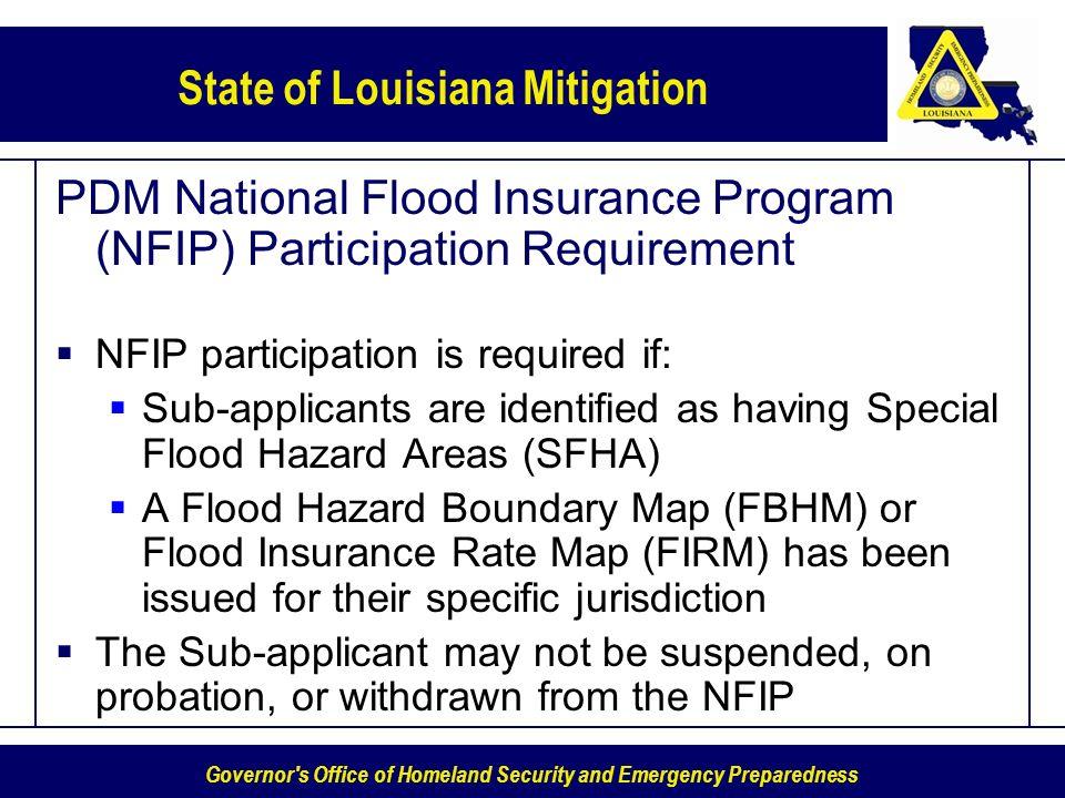 PDM National Flood Insurance Program (NFIP) Participation Requirement