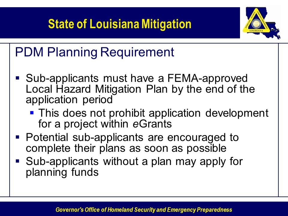 PDM Planning Requirement