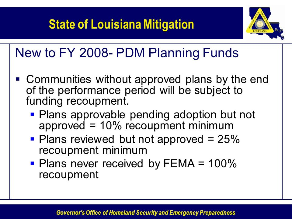 New to FY 2008- PDM Planning Funds