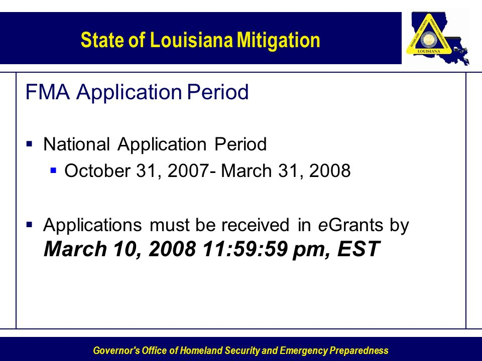 FMA Application Period