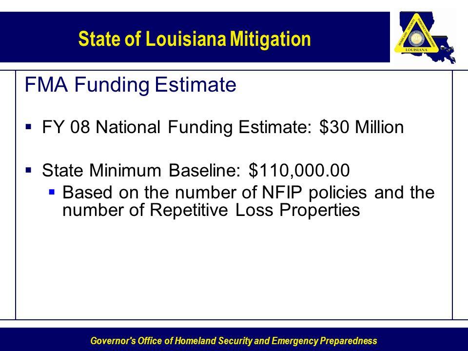 FMA Funding Estimate FY 08 National Funding Estimate: $30 Million