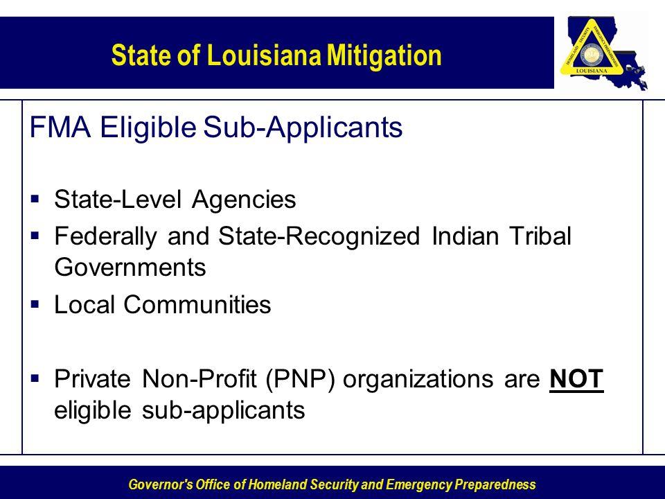 FMA Eligible Sub-Applicants