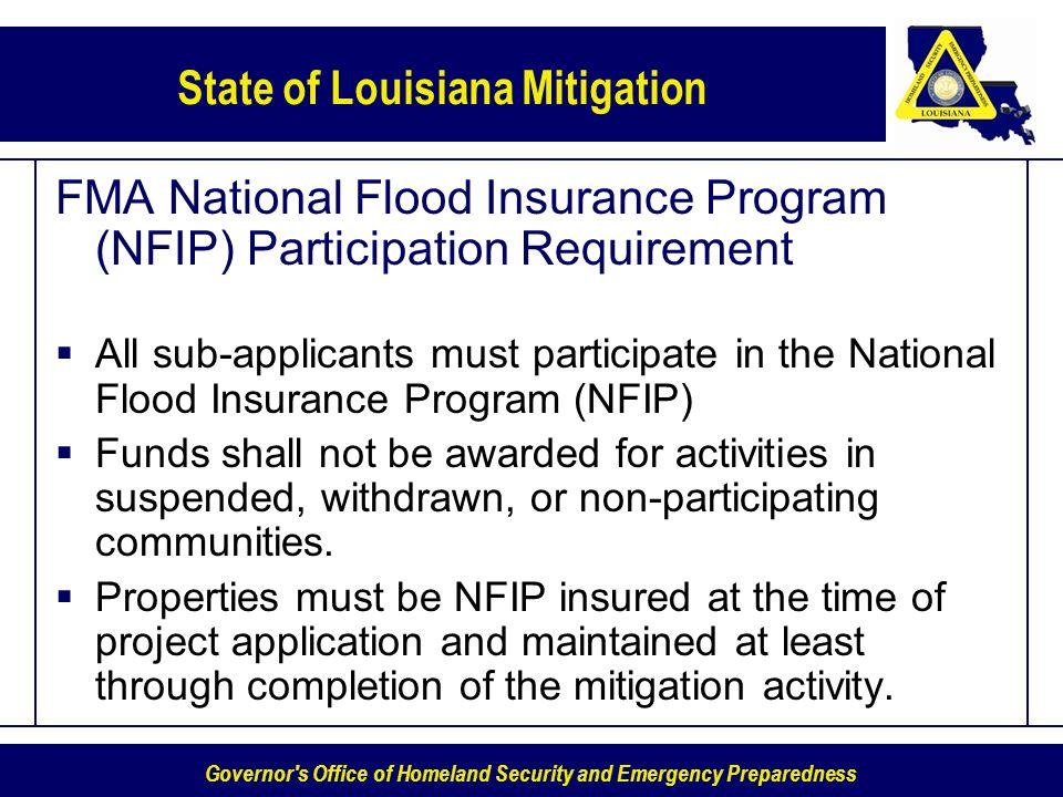 FMA National Flood Insurance Program (NFIP) Participation Requirement