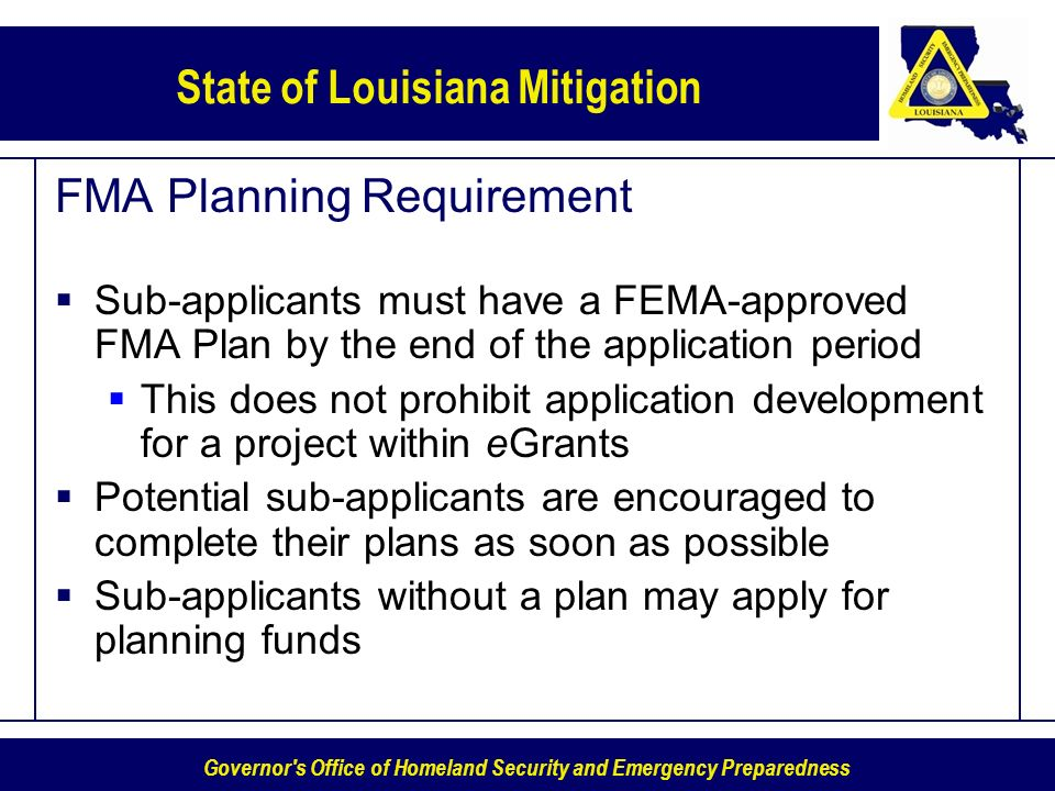 FMA Planning Requirement