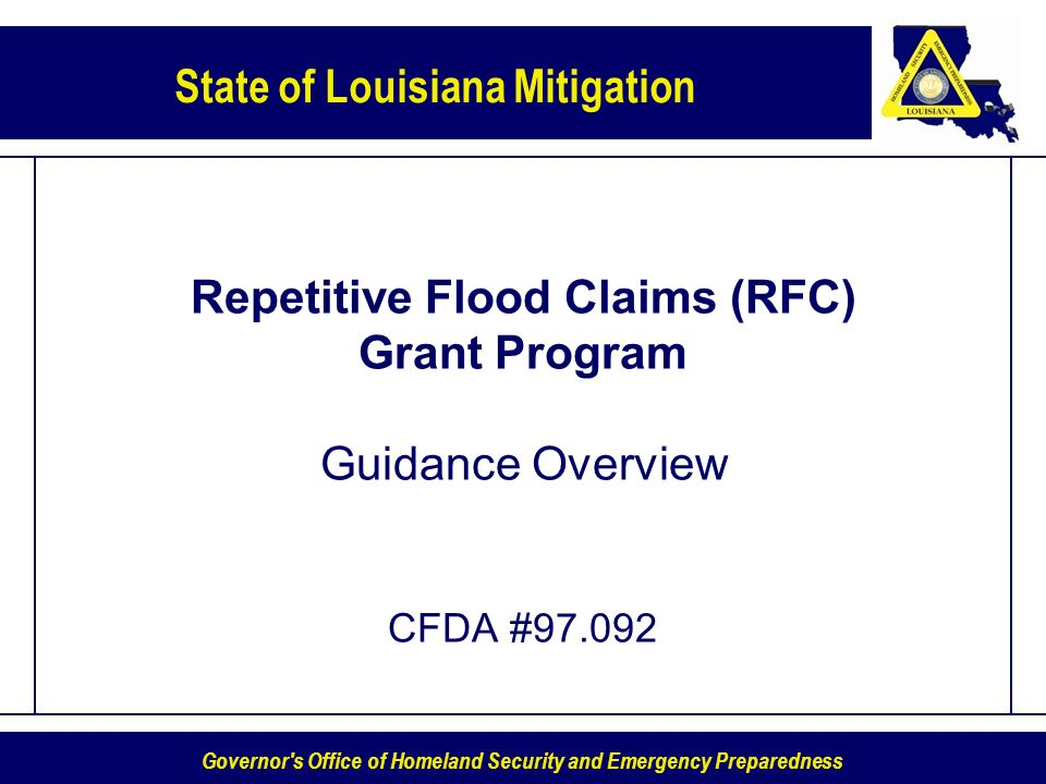 Repetitive Flood Claims (RFC) Grant Program Guidance Overview CFDA #97