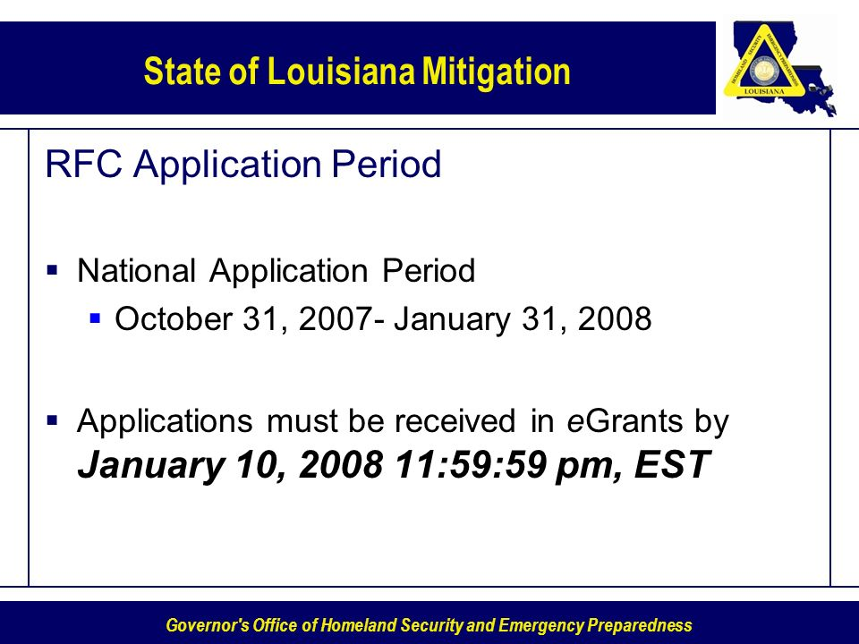 RFC Application Period