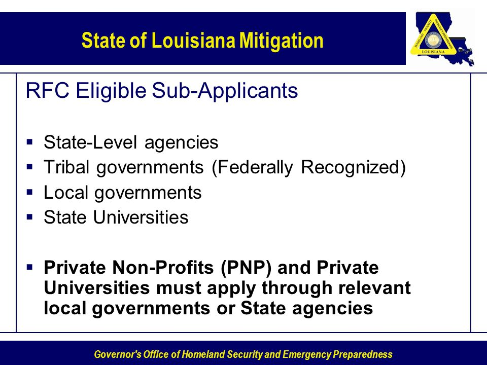 RFC Eligible Sub-Applicants