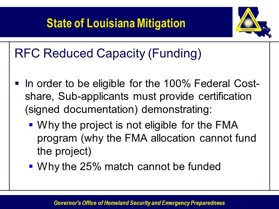 RFC Reduced Capacity (Funding)